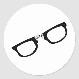 Black Rimmed Geek Glasses Classic Round Sticker