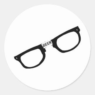 Black Rimmed Geek Glasses Classic Round Sticker