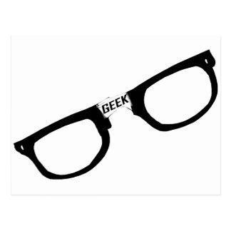 Black Rimmed Geek Glasses Postcard