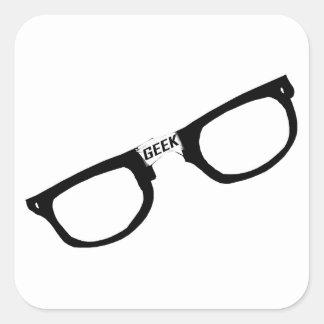 Black Rimmed Geek Glasses Square Sticker