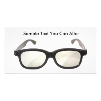 Black rimmed glasses isolated, Sample Text You ... Customized Photo Card