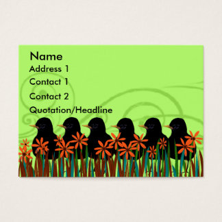 Black Robins  in a Row - Customized Business Card