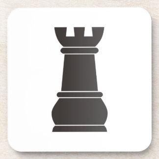 Black rock chess piece beverage coaster