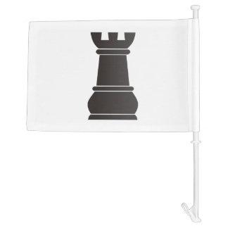 Black rock chess piece car flag