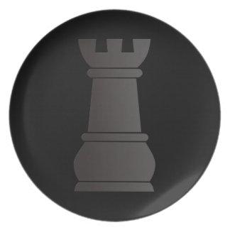 Black rock chess piece dinner plate