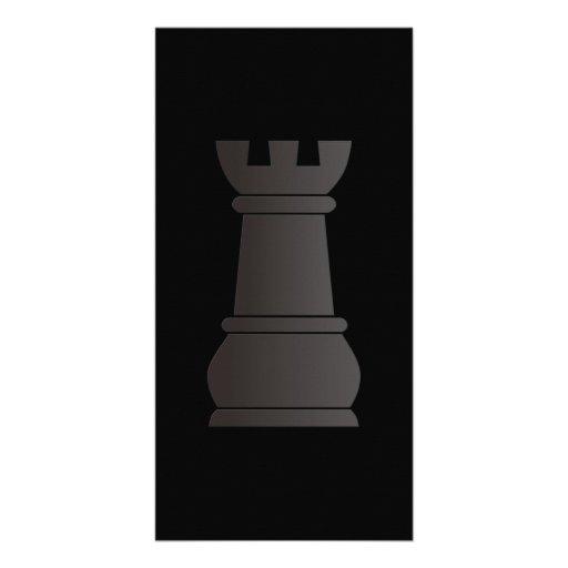 Black rock chess piece custom photo card