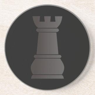 Black rock chess piece sandstone coaster