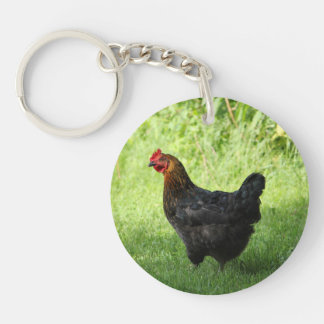 Black Rock Hen Double-Sided Round Acrylic Keychain