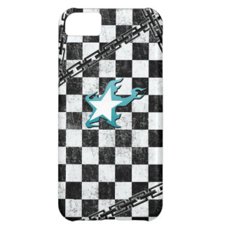 Black Rock Shooter star & checker Case For iPhone 5C