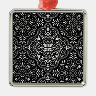 Black Rococo Pattern Flourish Metal Ornament
