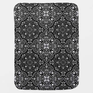 Black Rococo Pattern Flourish Receiving Blanket