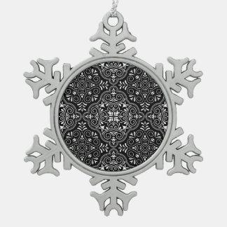 Black Rococo Pattern Flourish Snowflake Pewter Christmas Ornament