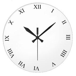 Black Roman Numbers Round Clock Add Photo