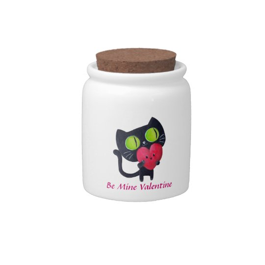 Black Romantic Cat Candy Jars