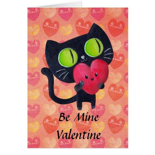 Black Romantic Cat Greeting Card