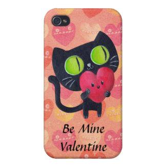 Black Romantic Cat Cases For iPhone 4