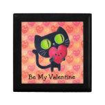 Black Romantic Cat Jewelry Box
