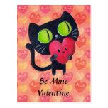 Black Romantic Cat Postcard