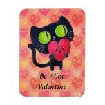Black Romantic Cat Rectangle Magnet