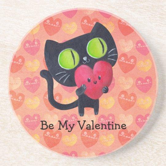 Black Romantic Cat Sandstone Coaster