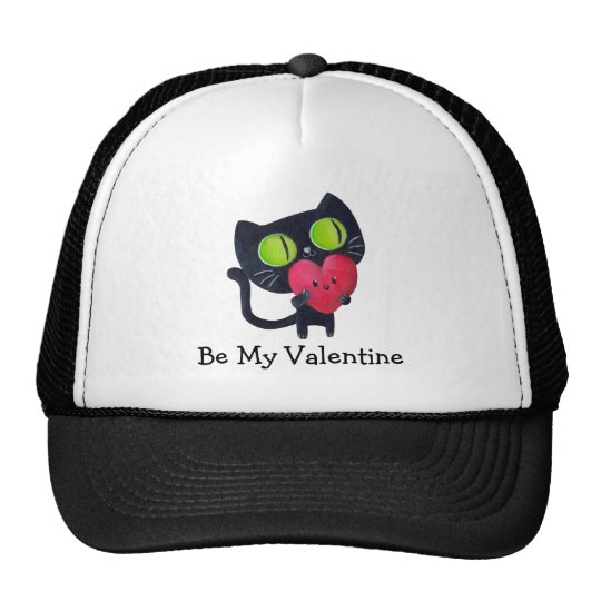 Black Romantic Cat Trucker Hat