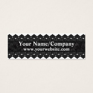 Black Romantic Lace Pattern Skinny Business Card