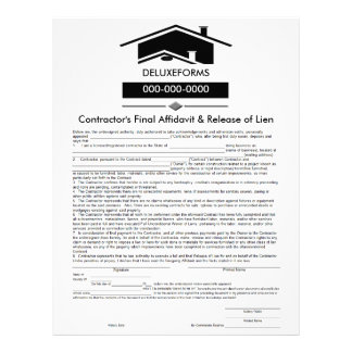 Black Roof Final Affidavit & Release of Lien Form Letterhead