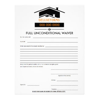 Black Roof Full Unconditional Waiver Form Letterhead