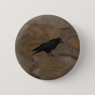 Black Rook British Corvid and Rustic Background Button