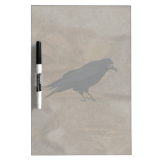 Black Rook British Corvid and Rustic Background Dry Erase Board