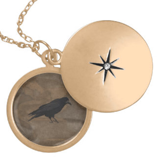 Black Rook British Corvid and Rustic Background Gold Plated Necklace