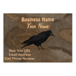 Black Rook British Corvid and Rustic Background Large Business Card