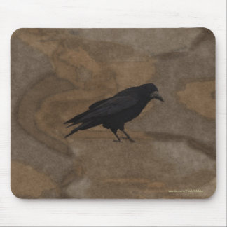 Black Rook British Corvid and Rustic Background Mouse Pad
