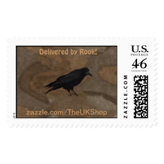 Black Rook British Corvid and Rustic Background Stamps