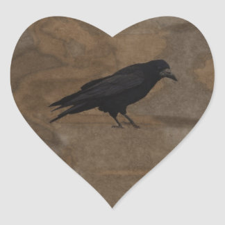 Black Rook British Corvid and Rustic Background Heart Sticker