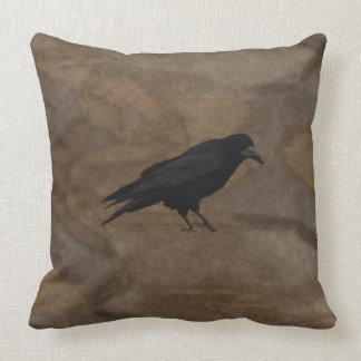 Black Rook British Corvid and Rustic Background Throw Pillow