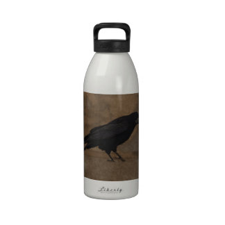Black Rook British Corvid and Rustic Background Water Bottle