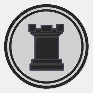 Black Rook Chess Piece Classic Round Sticker