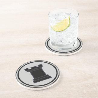 Black Rook Chess Piece Drink Coaster