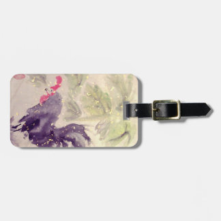 Black Rooster Chinese Art Luggage Tag
