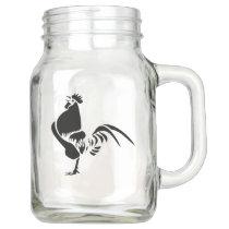 Black Rooster Crowing Good Morning English Tribal Mason Jar