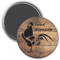 Black Rooster Crowing Silhouette Magnet