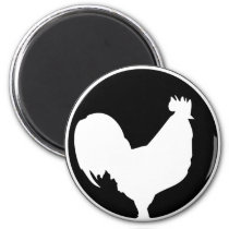 black rooster icon magnet