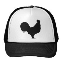 black rooster icon trucker hat