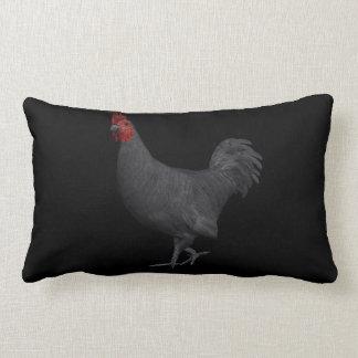 Black Rooster Lumbar Pillow