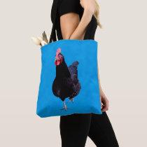 Black Rooster On Blue, Tote Bag