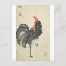 Black Rooster Postcard