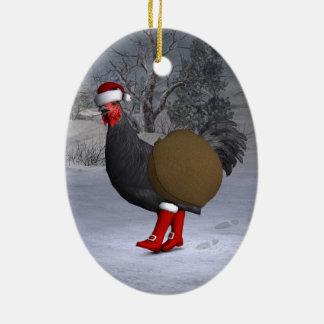 Black Rooster Santa Claus Ceramic Ornament