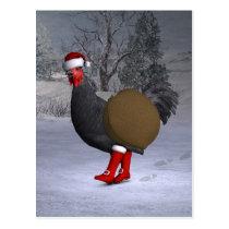 Black Rooster Santa Claus Postcard