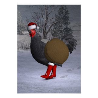 Black Rooster Santa Claus Poster
